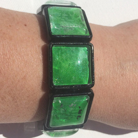 GREEN Watercolor Stretch Bracelet with Black Bezels