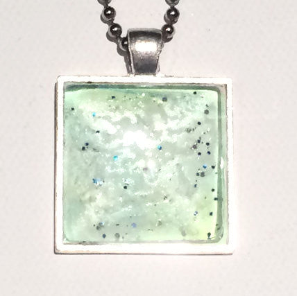 LIME Watercolor Pendant with Glitter
