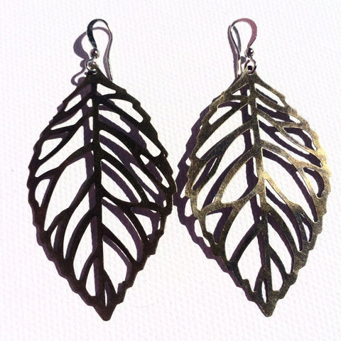 BRONZE Large Leaf Earrings with Silver Ear Wires