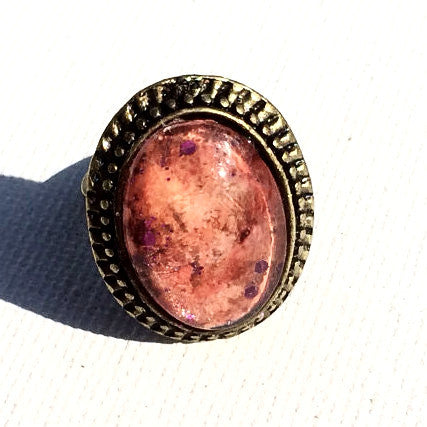 PEACH Watercolor Oval Ring with PURPLE Glitter
