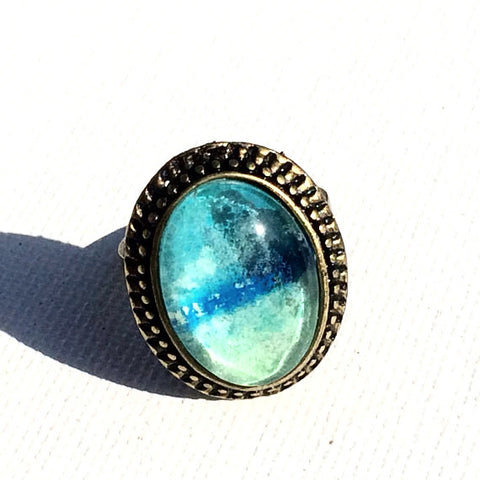 TURQUOISE Ocean Watercolor Ring