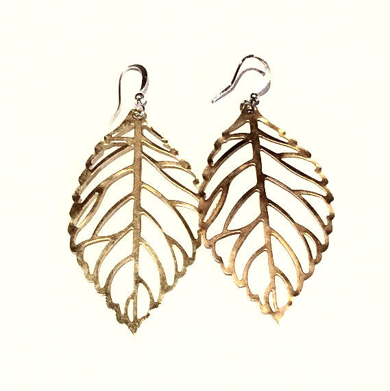 SALE GOLD PLATED Large Leaf Earrings with Silver Ear Wires