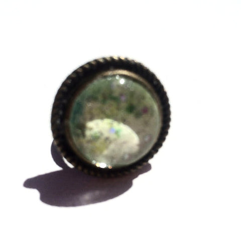 LIME GREEN Watercolor Round Bronze Ring with Glitter