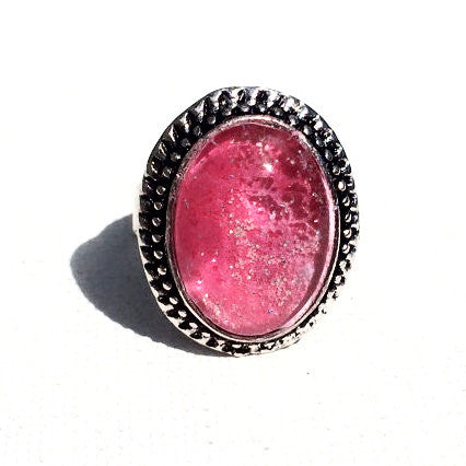 PINK Watercolor Antique Silver Ring with Glitter