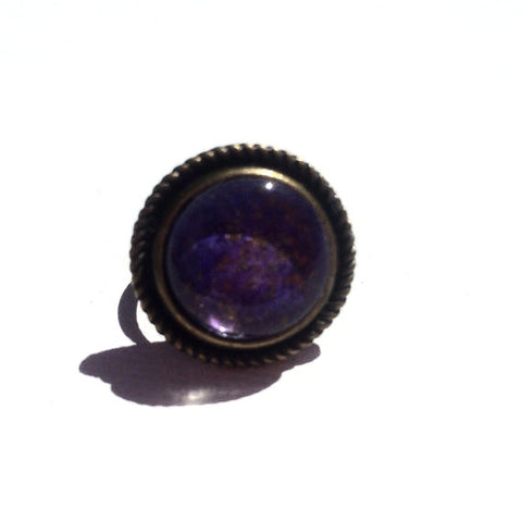 PURPLE Watercolor Round Bronze Ring with Glitter