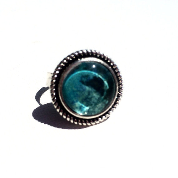 TURQUOISE Watercolor Silver Round Ring