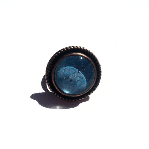 TURQUOISE Watercolor Round Copper Ring