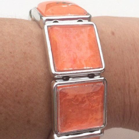 ORANGE Watercolor Stretch Bracelet with Square Silver Bezels