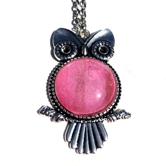 PINK Watercolor Owl Pendant with Glitter