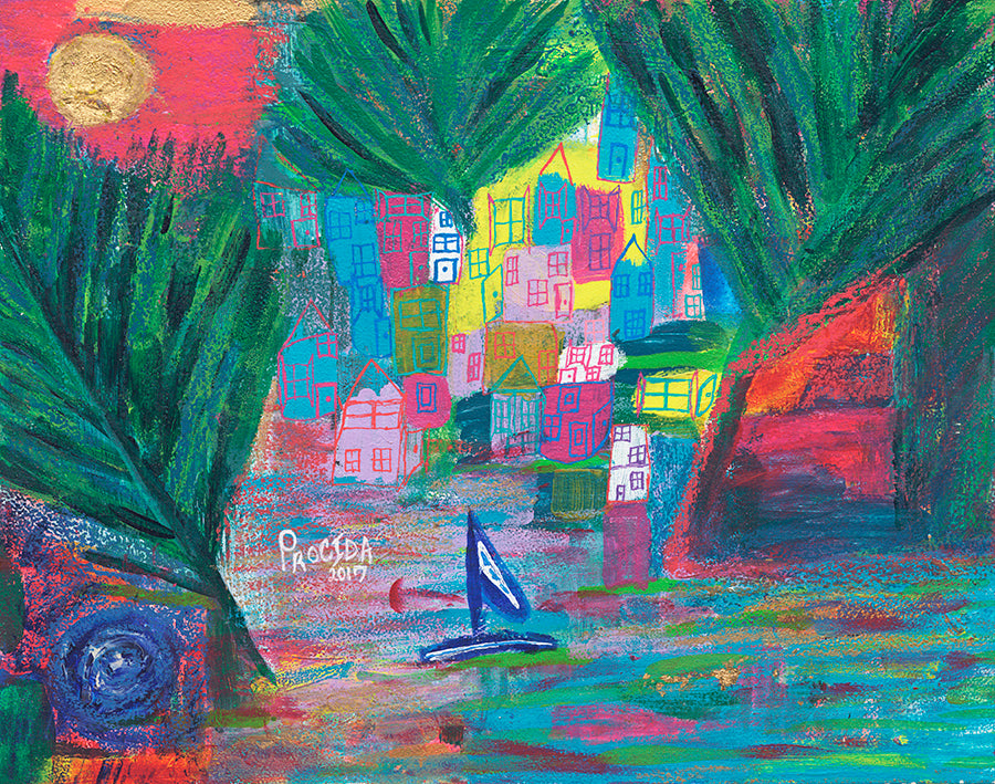 Procida Italy Colorful Art, Giclee Print, Happy Art