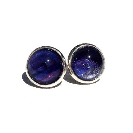 Purple Stud Earrings, Nickel Free, Hypallergenic, Colorful Earrings