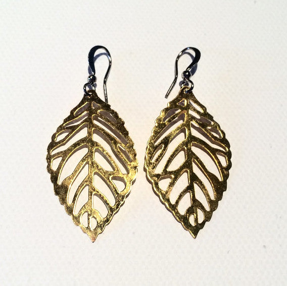 Small GOLD plated Leaf Earrings