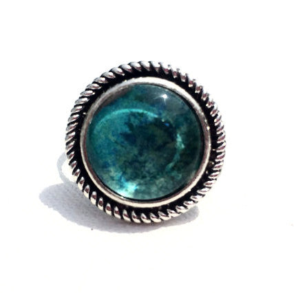 TEAL Round Watercolor Ring