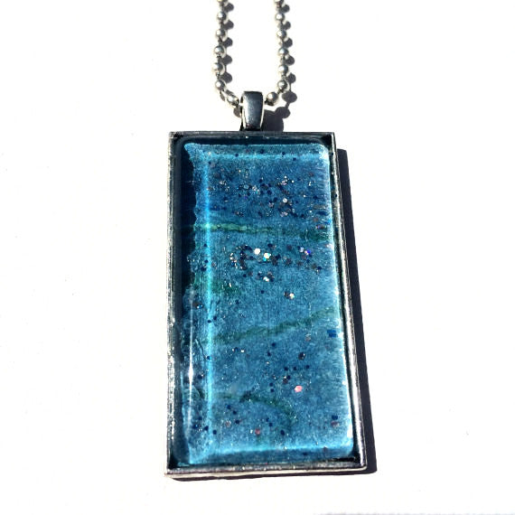 TURQUOISE Rectangle Watercolor Pendant with Glitter