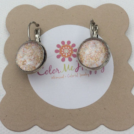 White Watercolor Studs with Gold Glitter and lever backs