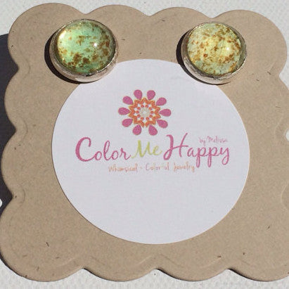 YELLOW Watercolor Studs with Glitter