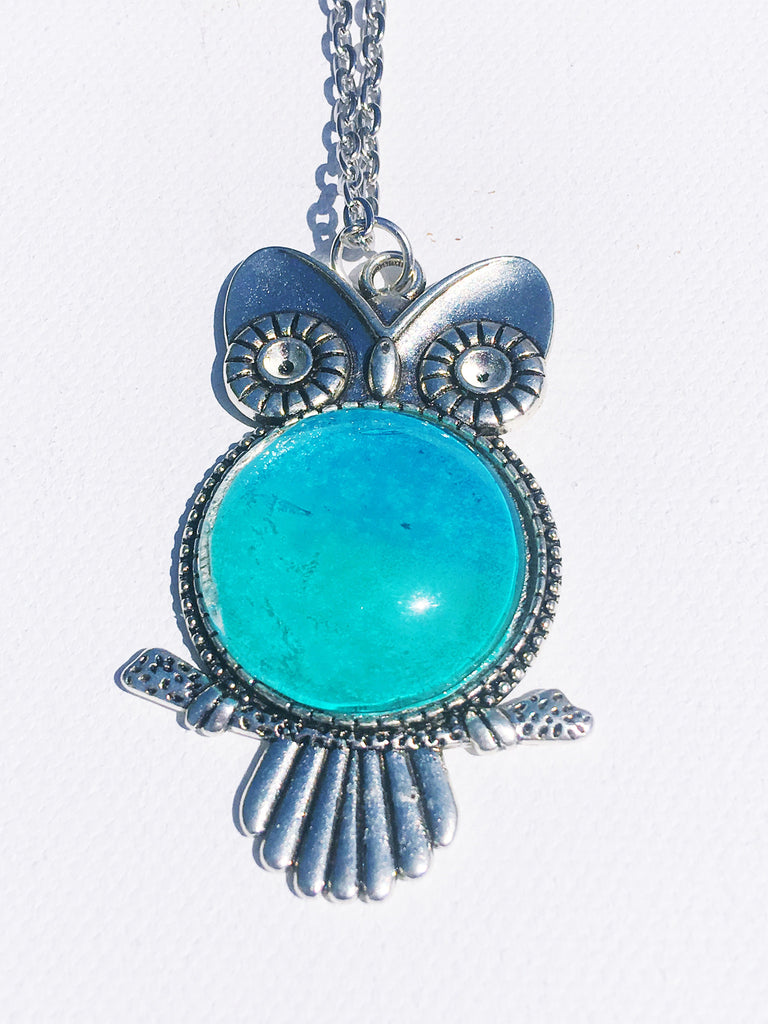 TEAL Watercolor Owl Pendant, Holiday gifts, Owl Jewelry
