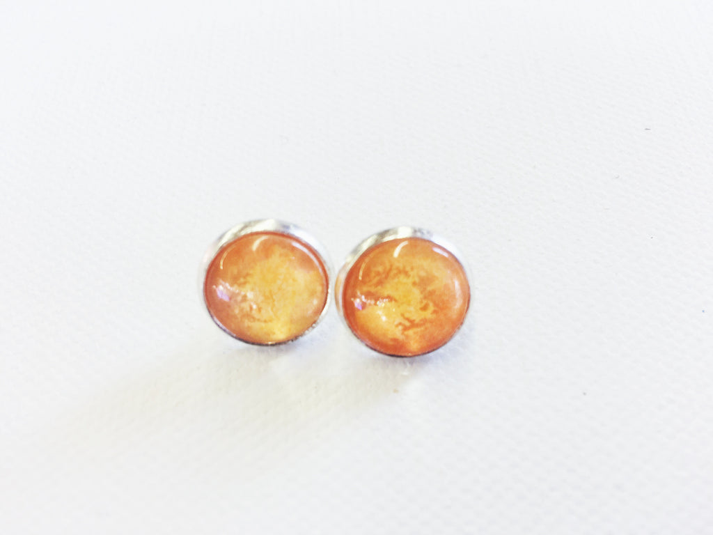 ORANGE Stud earrings, Nickel Free, Hypoallergenic