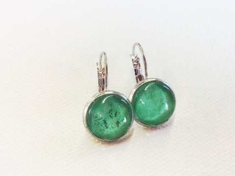 Green Lever Back Earrings, Nickel Free, Hypoallergenic, Holiday gifts