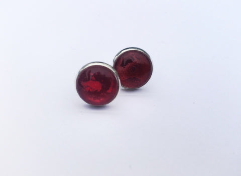 RED Stud Earrings, Nickel Free, Hypoallergenic, Colorful Earrings