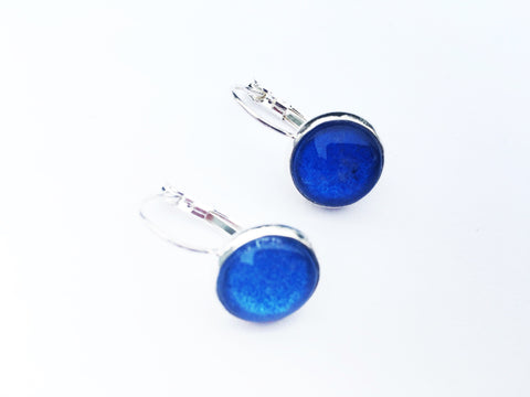MIDNIGHT BLUE Lever Back Earrings, Nickel Free, Hypoallergenic, Colorful earrings