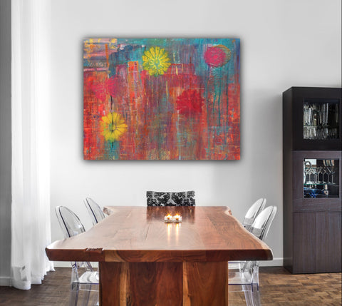 Abstract Cityscape Original Painting, Colorful Art, Home Decor, Original Painting, Happy art