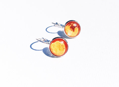 ORANGE Watercolor lever back Earrings, Nickel Free, Hypoallergenic