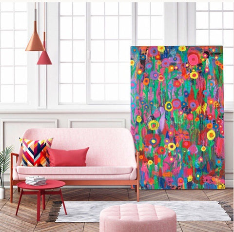 Colorful Floral Giclee Print, Original wall art, Home decor, Interior design art, Colorful Art, Happy art