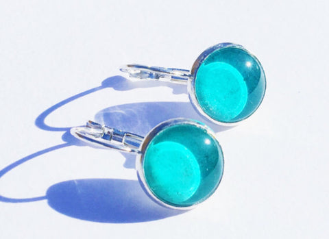 TEAL Lever Back Earrings, Nickel Free, Hypoallergenic, Colorful Eearrings, Gifts under 20