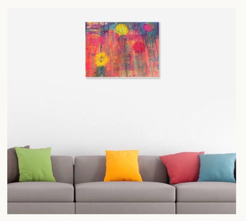 Abstract Cityscape Giclee Print, Happy art, Wall art, home decor, Colorful art