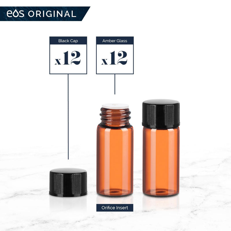 3 mL Classic Collection (Pack of 12) Containers eos - Easy Oil Solutions Amber Glass Bottles Black Cap & Orifice