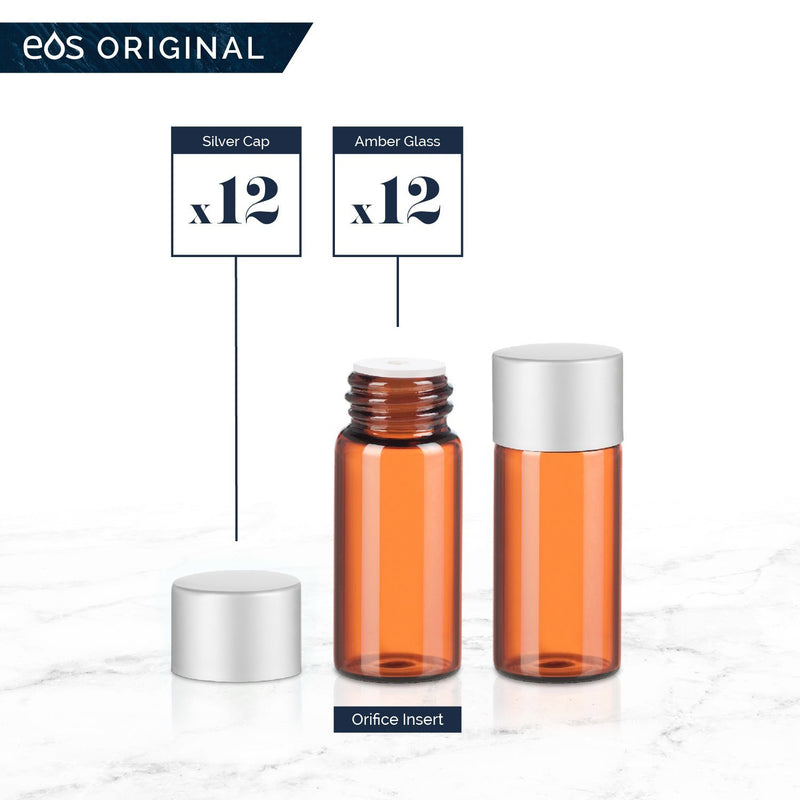 3 mL Classic Collection (Pack of 12) Containers eos - Easy Oil Solutions Amber Glass Bottles Silver Matte Cap & Orifice