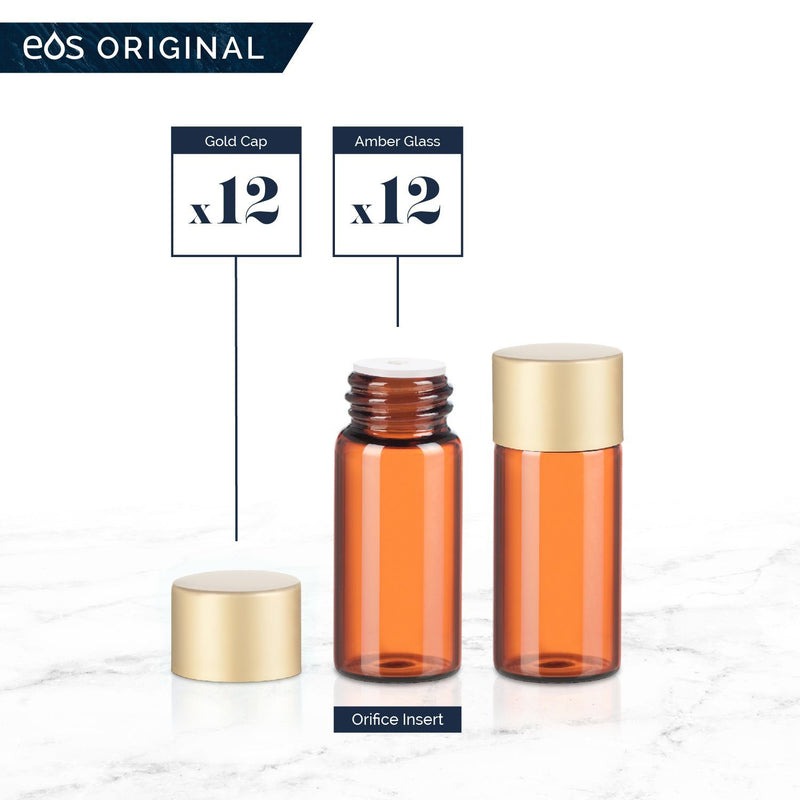 3 mL Classic Collection (Pack of 12) Containers eos - Easy Oil Solutions Amber Glass Bottles Gold Matte Cap & Orifice