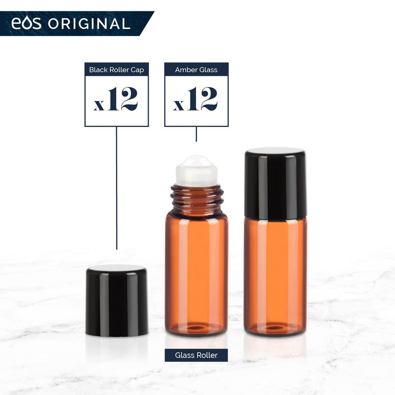 3 mL Classic Collection (Pack of 12) Containers eos - Easy Oil Solutions Amber Glass Bottles Black Cap & Glass Rollerball