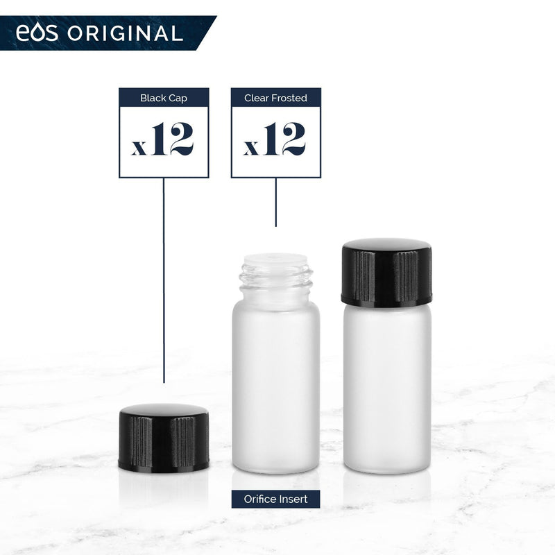 3 mL Classic Collection (Pack of 12) Containers eos - Easy Oil Solutions Clear Frosted Glass Bottles Black Cap & Orifice