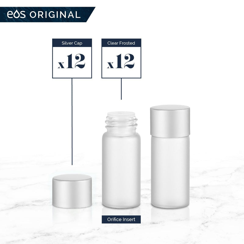 3 mL Classic Collection (Pack of 12) Containers eos - Easy Oil Solutions Clear Frosted Glass Bottles Silver Matte Cap & Orifice