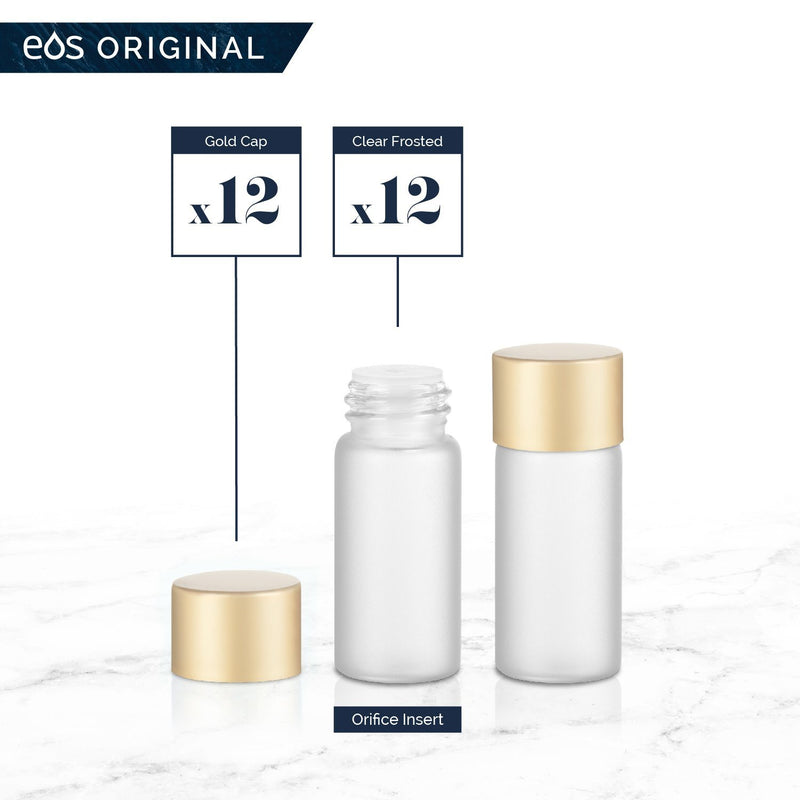 3 mL Classic Collection (Pack of 12) Containers eos - Easy Oil Solutions Clear Frosted Glass Bottles Gold Matte Cap & Orifice