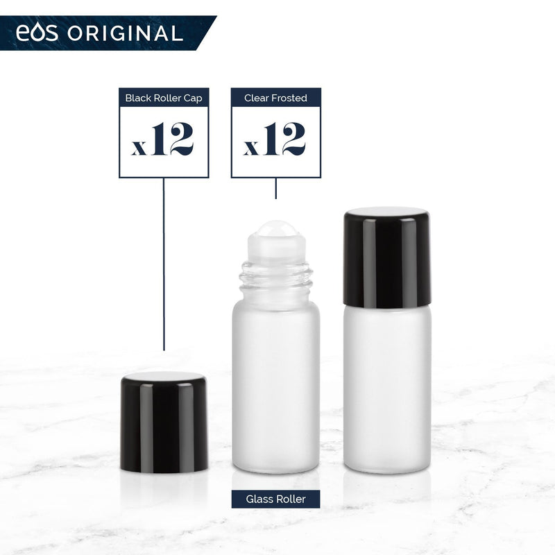 3 mL Classic Collection (Pack of 12) Containers eos - Easy Oil Solutions Clear Frosted Glass Bottles Black Cap & Glass Rollerball