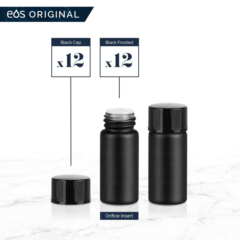 3 mL Classic Collection (Pack of 12) Containers eos - Easy Oil Solutions Black Frosted Glass Bottles Black Cap & Orifice