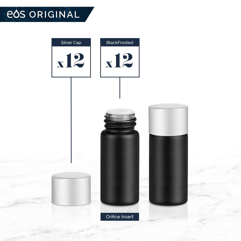 3 mL Classic Collection (Pack of 12) Containers eos - Easy Oil Solutions Black Frosted Glass Bottles Silver Matte Cap & Orifice