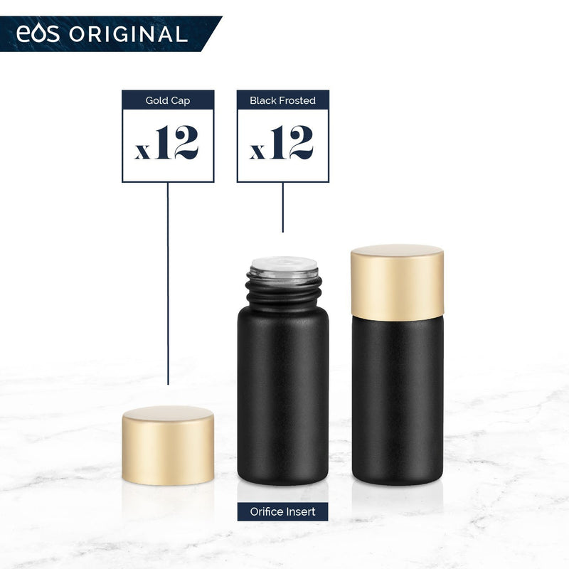 3 mL Classic Collection (Pack of 12) Containers eos - Easy Oil Solutions Black Frosted Glass Bottles Gold Matte Cap & Orifice