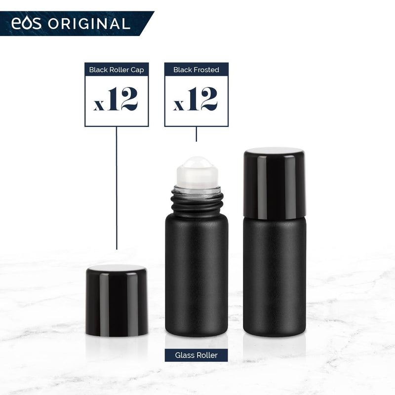 3 mL Classic Collection (Pack of 12) Containers eos - Easy Oil Solutions Black Frosted Glass Bottles Black Cap & Glass Rollerball