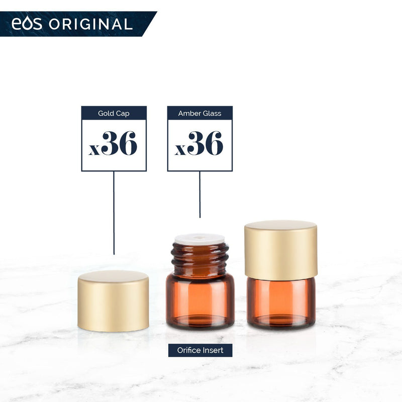 1/4 Dram Classic Collection (Pack of 36) Containers eos - Easy Oil Solutions Amber Glass Bottles Gold Matte Cap & Orifice