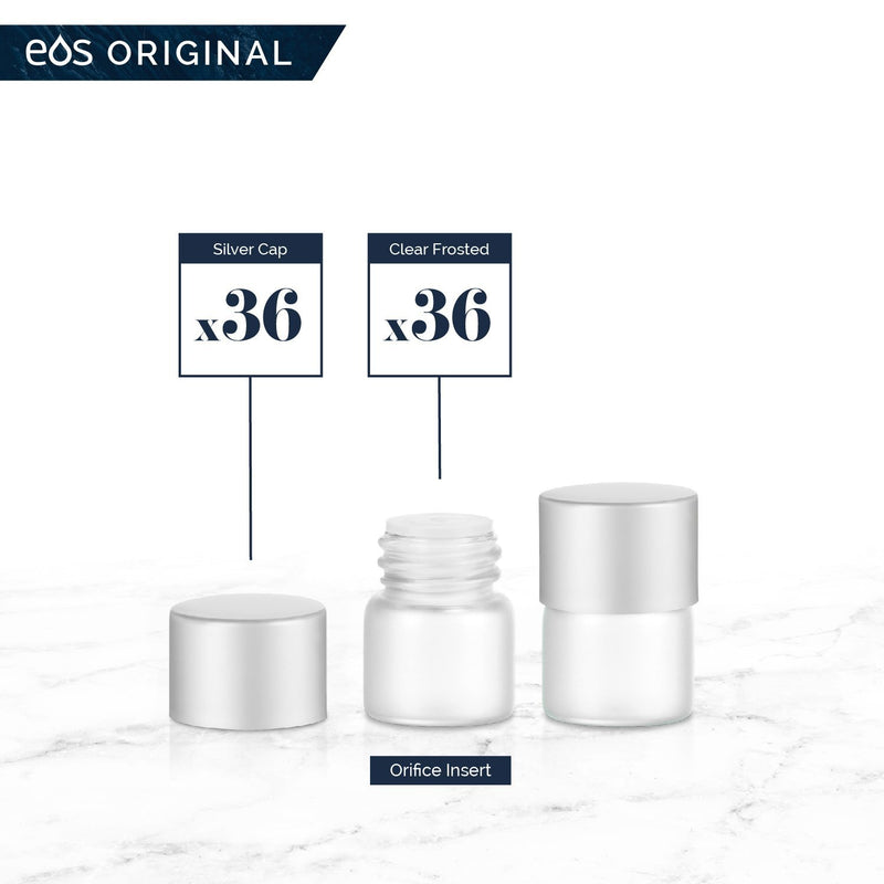 1/4 Dram Classic Collection (Pack of 36) Containers eos - Easy Oil Solutions Clear Frosted Glass Bottles Silver Matte Cap & Orifice
