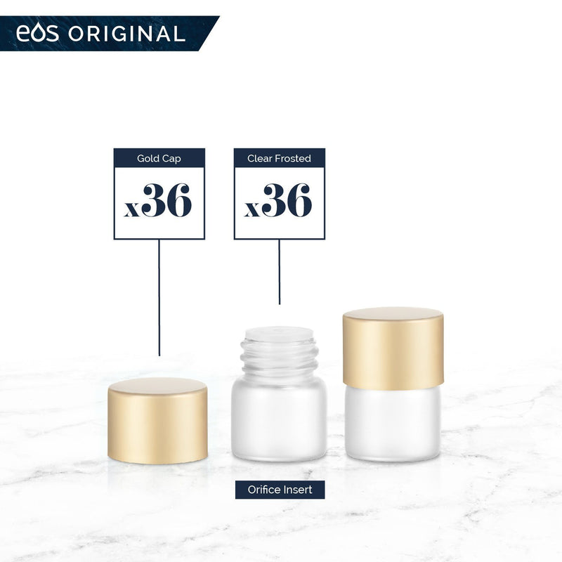 1/4 Dram Classic Collection (Pack of 36) Containers eos - Easy Oil Solutions Clear Frosted Glass Bottles Gold Matte Cap & Orifice