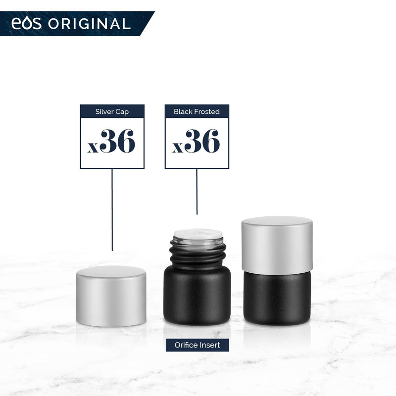 1/4 Dram Classic Collection (Pack of 36) Containers eos - Easy Oil Solutions Black Frosted Glass Bottles Silver Matte Cap & Orifice