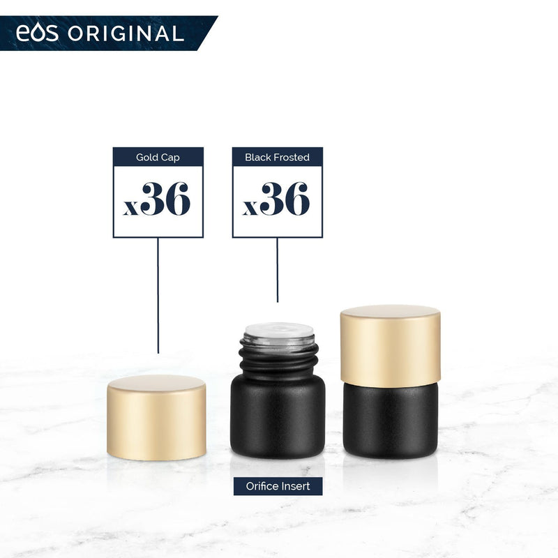 1/4 Dram Classic Collection (Pack of 36) Containers eos - Easy Oil Solutions Black Frosted Glass Bottles Gold Matte Cap & Orifice