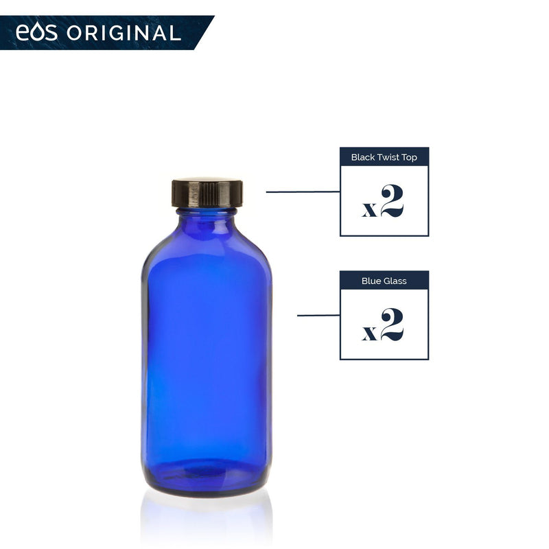 8 oz Collection (Pack of 2) Containers eos - Easy Oil Solutions Black Regular Cap
