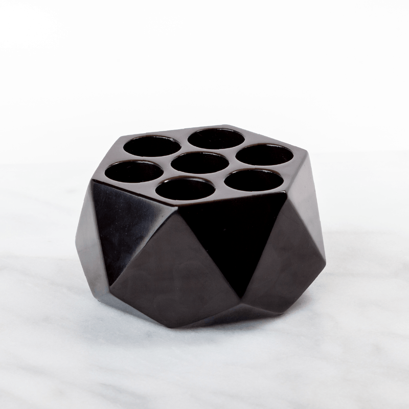 Diamond Onyx Oil Holder (15mL - 7 Holes) Stone Oil Holders Shades Of Stone Classy Black