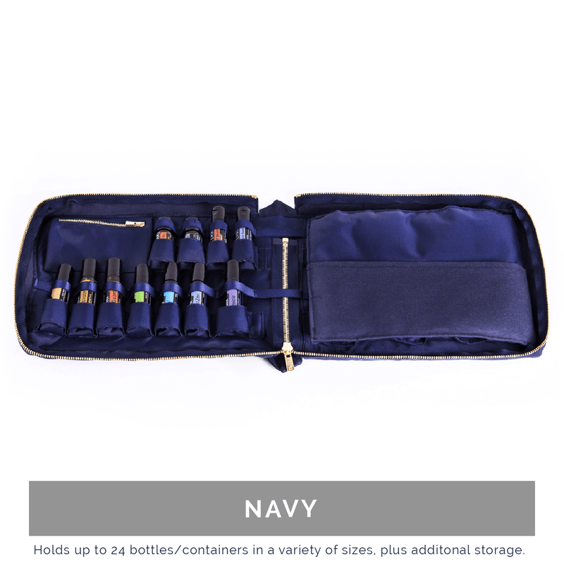 Hand-Stitched Italian Essential Oil Travel Case Collection Cases BAGEO Navy